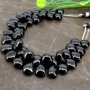 Shop Spinel Bead Shapes! Natural Black Spinel 11-13mm Smooth Pear Briolette Beads / Approx 41 pieces on 8 Inch long strand / JBC-ET-BMGR055 | Natural genuine other-shape Spinel beads for beading and jewelry making.  #jewelry #beads #beadedjewelry #diyjewelry #jewelrymaking #beadstore #beading #affiliate #ad