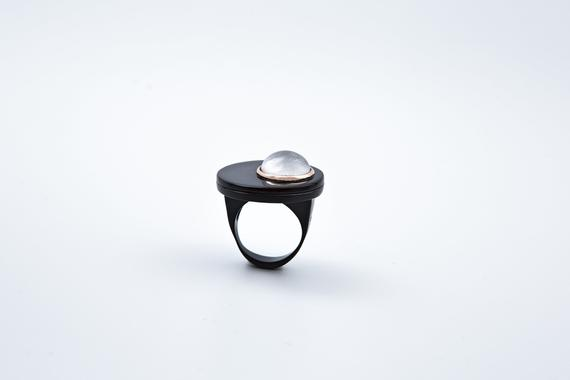 Sterling Silver Black With K9 Rose Gold Ring,selenite Ring,unique Ring,gemstone Jewelry.