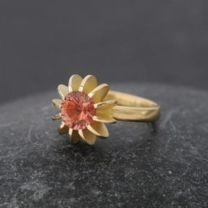 Shop Sunstone Rings! Oregon Sunstone Sea Urchin Ring in 18K Gold – Ethical Gemstone Ring | Natural genuine Sunstone rings, simple unique handcrafted gemstone rings. #rings #jewelry #shopping #gift #handmade #fashion #style #affiliate #ad