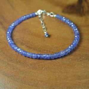 Shop Tanzanite Bracelets! Delicate Tanzanite Bracelet In Sterling Silver / / Periwinkle Blue / / December Birthstone / / 8th, 24th Anniversary / / Everyday Tanzanite | Natural genuine Tanzanite bracelets. Buy crystal jewelry, handmade handcrafted artisan jewelry for women.  Unique handmade gift ideas. #jewelry #beadedbracelets #beadedjewelry #gift #shopping #handmadejewelry #fashion #style #product #bracelets #affiliate #ad