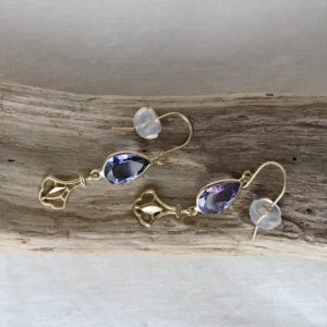 Shop Tanzanite Earrings! 18k Yellow Gold Natural Tanzanite (2.20 Ct) Dangle Earrings, Appraised 2, 645 Cad | Natural genuine Tanzanite earrings. Buy crystal jewelry, handmade handcrafted artisan jewelry for women.  Unique handmade gift ideas. #jewelry #beadedearrings #beadedjewelry #gift #shopping #handmadejewelry #fashion #style #product #earrings #affiliate #ad