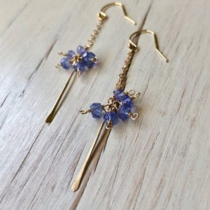 Shop Tanzanite Earrings! Tanzanite Earrings Tanzanite Bar Dangle Earring Tanzanite Jewelry | Natural genuine Tanzanite earrings. Buy crystal jewelry, handmade handcrafted artisan jewelry for women.  Unique handmade gift ideas. #jewelry #beadedearrings #beadedjewelry #gift #shopping #handmadejewelry #fashion #style #product #earrings #affiliate #ad