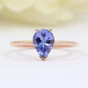 14k Tanzanite Engagement Ring/Natural 8×6 Pear Tanzanite Ring/Tanzanite Wedding Ring/Simple Tanzanite Solitaire Ring/Simple Engagement | Natural genuine Array rings, simple unique alternative gemstone engagement rings. #rings #jewelry #bridal #wedding #jewelryaccessories #engagementrings #weddingideas #affiliate #ad