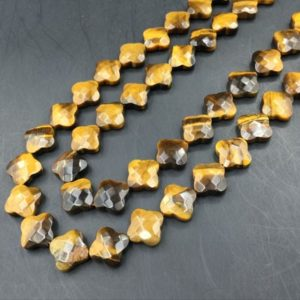 Shop Tiger Eye Faceted Beads! Faceted Tiger Eye Clover Beads Tiger Stone Beads Tiger Eye Flower Floral Beads Gemstone Beads Jewelry Beads Supplies 13mm 30pieces/strand | Natural genuine faceted Tiger Eye beads for beading and jewelry making.  #jewelry #beads #beadedjewelry #diyjewelry #jewelrymaking #beadstore #beading #affiliate #ad