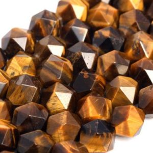 Shop Tiger Eye Faceted Beads! Genuine Natural Yellow Tiger Eye Loose Beads Grade AA Star Cut Faceted Shape 7-8mm 9-10mm | Natural genuine faceted Tiger Eye beads for beading and jewelry making.  #jewelry #beads #beadedjewelry #diyjewelry #jewelrymaking #beadstore #beading #affiliate #ad