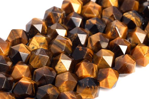 Genuine Natural Yellow Tiger Eye Loose Beads Grade Aa Star Cut Faceted Shape 7-8mm 9-10mm