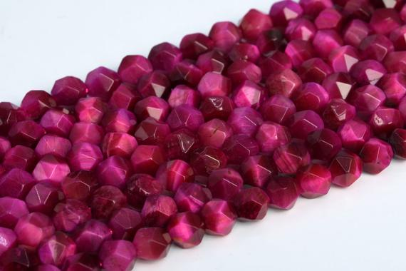 Natural Rose Red Tiger Eye Loose Beads Grade Aaa Star Cut Faceted Shape 5-6mm 7-8mm