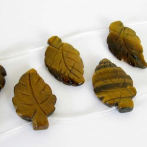 28mm Tiger's Eye Beads, 6 Beads, Carved Leaf Tiger Eye, 28mm Leaf Tigereye Beads, Tig205 | Natural genuine other-shape Gemstone beads for beading and jewelry making.  #jewelry #beads #beadedjewelry #diyjewelry #jewelrymaking #beadstore #beading #affiliate #ad