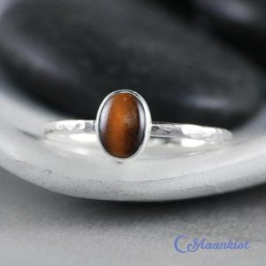 Shop Tiger Eye Rings! Dainty Oval Tiger Eye Promise Ring In Sterling Silver | Moonkist Designs | Natural genuine Tiger Eye rings, simple unique handcrafted gemstone rings. #rings #jewelry #shopping #gift #handmade #fashion #style #affiliate #ad
