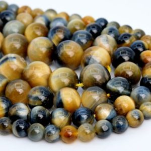 Shop Tiger Eye Round Beads! Golden Blue Tiger Eye Loose Beads Grade AAA Round Shape 6-7mm 8mm 10mm | Natural genuine round Tiger Eye beads for beading and jewelry making.  #jewelry #beads #beadedjewelry #diyjewelry #jewelrymaking #beadstore #beading #affiliate #ad