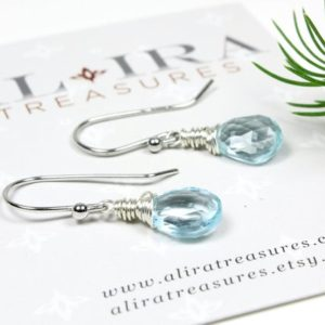 Shop Topaz Earrings! Blue Topaz Earrings Sterling Silver wire wrappped natural gemstone dainty dangle drops December birthstone holiday gift for her women 5818 | Natural genuine Topaz earrings. Buy crystal jewelry, handmade handcrafted artisan jewelry for women.  Unique handmade gift ideas. #jewelry #beadedearrings #beadedjewelry #gift #shopping #handmadejewelry #fashion #style #product #earrings #affiliate #ad