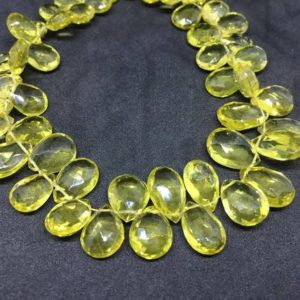 Shop Topaz Bead Shapes! AAA Lemon Topaz (Green Gold) Pear Faceted Beads, 6×9-10x14mm, 11 Inches Strand | Natural genuine other-shape Topaz beads for beading and jewelry making.  #jewelry #beads #beadedjewelry #diyjewelry #jewelrymaking #beadstore #beading #affiliate #ad