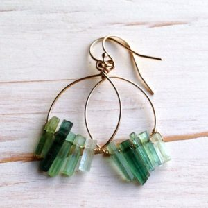 Tourmaline Earrings Tourmaline Jewelry Gold Tourmaline Hoop Earrings Raw Tourmaline Jewelry | Natural genuine Gemstone jewelry. Buy crystal jewelry, handmade handcrafted artisan jewelry for women.  Unique handmade gift ideas. #jewelry #beadedjewelry #beadedjewelry #gift #shopping #handmadejewelry #fashion #style #product #jewelry #affiliate #ad