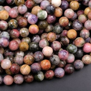 "Shop Tourmaline Faceted Beads! Large Faceted Tourmaline Round Beads 8mm 9mm 10mm 11mm 14mm 16mm Natural Pink Green Yellow Real Genuine Gemstone Beads 15.5"" Strand 