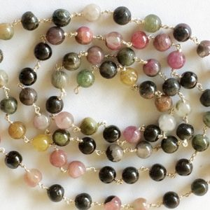 Shop Tourmaline Round Beads! 5mm Multi Tourmaline Plain Round Balls Beads In 925 Silver Wire Wrapped Rosary Style Chain Tourmaline Bead Chain (1 Foot To 5 Feet Options) | Natural genuine round Tourmaline beads for beading and jewelry making.  #jewelry #beads #beadedjewelry #diyjewelry #jewelrymaking #beadstore #beading #affiliate #ad