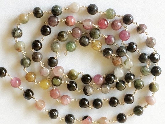 5mm Multi Tourmaline Plain Round Balls Beads In 925 Silver Wire Wrapped Rosary Style Chain Tourmaline Bead Chain (1 Foot To 5 Feet Options)