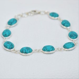Shop Turquoise Bracelets! Natural Turquoise Bracelet-Handmade Bracelet for Women-925 Sterling Silver Bracelet-Oval Turquoise Bracelet-Wedding Glam Hand jewelry | Natural genuine Turquoise bracelets. Buy handcrafted artisan wedding jewelry.  Unique handmade bridal jewelry gift ideas. #jewelry #beadedbracelets #gift #crystaljewelry #shopping #handmadejewelry #wedding #bridal #bracelets #affiliate #ad