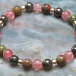 Shop Unakite Bracelets! Strawberry/Cherry Quartz, Pyrite & Unakite Healing Stone Bracelet or Anklet with Positive Healing Energy! | Natural genuine Unakite bracelets. Buy crystal jewelry, handmade handcrafted artisan jewelry for women.  Unique handmade gift ideas. #jewelry #beadedbracelets #beadedjewelry #gift #shopping #handmadejewelry #fashion #style #product #bracelets #affiliate #ad
