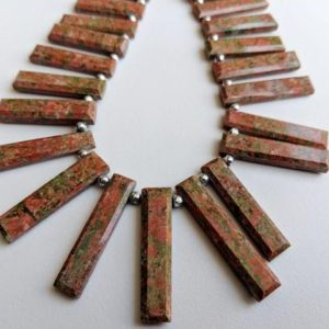 Shop Unakite Bead Shapes! 15-32mm Unakite Stick Beads, Natural Unakite Fancy Faceted Sticks, Rectangle Beads, 7 Inch  Unakite Statement For Necklace – ANT62 | Natural genuine other-shape Unakite beads for beading and jewelry making.  #jewelry #beads #beadedjewelry #diyjewelry #jewelrymaking #beadstore #beading #affiliate #ad