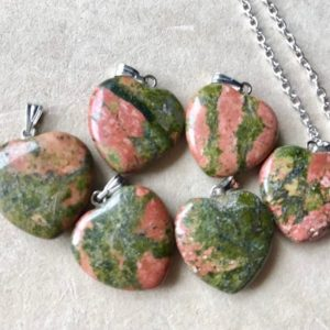 Shop Unakite Jewelry! Unakite Heart Pendant Necklace Stone High Vibration Love Soulmate Twin Soul Compassion Earth Gaia Energy Full Moon Charged Cleansed | Natural genuine Unakite jewelry. Buy crystal jewelry, handmade handcrafted artisan jewelry for women.  Unique handmade gift ideas. #jewelry #beadedjewelry #beadedjewelry #gift #shopping #handmadejewelry #fashion #style #product #jewelry #affiliate #ad