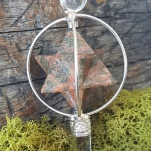 Unakite Crystal Merkaba Star Pendulum – Healing Dowsing Energy Balancing- 852 | Natural genuine stones & crystals in various shapes & sizes. Buy raw cut, tumbled, or polished gemstones for making jewelry or crystal healing energy vibration raising reiki stones. #crystals #gemstones #crystalhealing #crystalsandgemstones #energyhealing #affiliate #ad