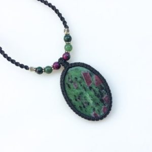 Shop Ruby Zoisite Necklaces! Watermelon Ruby necklace, Natural Ruby zoisite necklace, Adjustable macrame necklace, Oval, Ruby zoisite pendant necklace, Watermelon Ruby | Natural genuine Ruby Zoisite necklaces. Buy crystal jewelry, handmade handcrafted artisan jewelry for women.  Unique handmade gift ideas. #jewelry #beadednecklaces #beadedjewelry #gift #shopping #handmadejewelry #fashion #style #product #necklaces #affiliate #ad