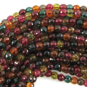"Shop Watermelon Tourmaline Beads! 6mm faceted watermelon tourmaline quartz round beads 15.5"" strand S2 33536 