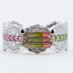 Shop Watermelon Tourmaline Rings! Watermelon Tourmaline Ring, Bicolor Tourmaline Ring, Multi Gemstone Ring, Rose Gold Lace Ring, Watermelon Tourmaline Jewelry | Natural genuine Watermelon Tourmaline rings, simple unique handcrafted gemstone rings. #rings #jewelry #shopping #gift #handmade #fashion #style #affiliate #ad