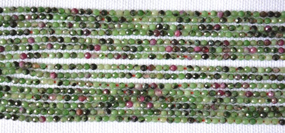 "Wholesale 5 Strand, Ruby Zoisite Faceted Rondelle, Gemstone Beads, 2.4mm Zoisite Faceted Beads, Center Drilled Beads, 13"" Strand #gnpp0138"
