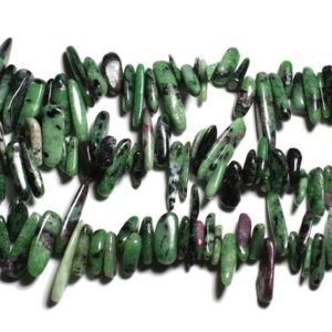 Shop Ruby Zoisite Chip & Nugget Beads! Wire 39cm 110pc env – stone beads – Ruby Zoisite rock Chips sticks 12-25mm | Natural genuine chip Ruby Zoisite beads for beading and jewelry making.  #jewelry #beads #beadedjewelry #diyjewelry #jewelrymaking #beadstore #beading #affiliate #ad