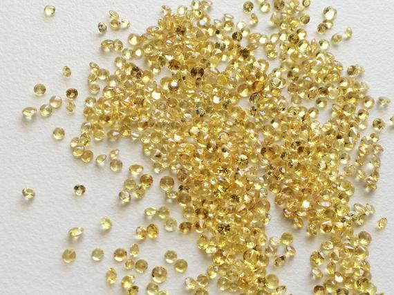 2-3mm Yellow Sapphire Cut Stone, Yellow Sapphire Loose Gemstones, Faceted Sapphire For Jewelry, Round Sapphire Cut Stone (1ct To 5ct Option)