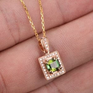 1.15ct emerald cut green tourmaline pendant,18K Rose gold Halo diamond necklace pendant,8 claw prong pendant,wedding,promise,gift,reco | Natural genuine Green Tourmaline pendants. Buy handcrafted artisan wedding jewelry.  Unique handmade bridal jewelry gift ideas. #jewelry #beadedpendants #gift #crystaljewelry #shopping #handmadejewelry #wedding #bridal #pendants #affiliate #ad