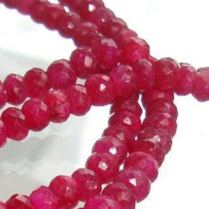 10 pcs, 4.5-5×3.5-4mm, Ruby Rondelles Beads, Beautiful Color | Natural genuine rondelle Ruby beads for beading and jewelry making.  #jewelry #beads #beadedjewelry #diyjewelry #jewelrymaking #beadstore #beading #affiliate #ad