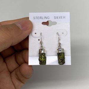 Shop Green Tourmaline Earrings! 14.5 cts, 14mm x 6mm x 6mm,  Gorgeous Handmade Gemstones Rough Green Tourmaline Earring Sterling Silver, E004, D753 | Natural genuine Green Tourmaline earrings. Buy crystal jewelry, handmade handcrafted artisan jewelry for women.  Unique handmade gift ideas. #jewelry #beadedearrings #beadedjewelry #gift #shopping #handmadejewelry #fashion #style #product #earrings #affiliate #ad