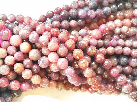 4-8mm Natural Gorgeous Ruby Gemstone,red Longido Round Ball Faceted Loose Beads Strand For Necklace Bracelet,semi-precious