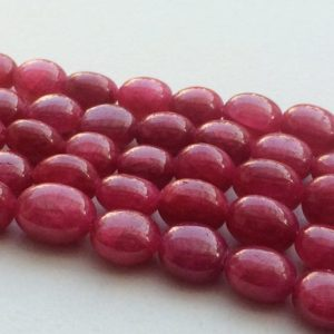 7-10mm Ruby Plain Tumble Beads, Ruby For Jewelry, Ruby Plain Tumbles 9 Inch Ruby Treated Beads for Necklace – PGA2193 | Natural genuine other-shape Ruby beads for beading and jewelry making.  #jewelry #beads #beadedjewelry #diyjewelry #jewelrymaking #beadstore #beading #affiliate #ad