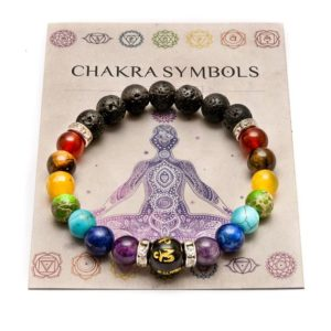 Shop Chakra Bracelets! 7 Chakra Bracelet with Meaning Card. Anxiety bracelet. Natural Crystal Healing Jewellery. Mandala Yoga bracelet. Meditation charm. | Shop jewelry making and beading supplies, tools & findings for DIY jewelry making and crafts. #jewelrymaking #diyjewelry #jewelrycrafts #jewelrysupplies #beading #affiliate #ad