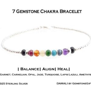 Shop Chakra Bracelets! Authentic 7 Stone Chakra Bracelet Sterling Silver Authentic Gemstone Healing Crystal Handmade Intention Bracelets for Women | Shop jewelry making and beading supplies, tools & findings for DIY jewelry making and crafts. #jewelrymaking #diyjewelry #jewelrycrafts #jewelrysupplies #beading #affiliate #ad