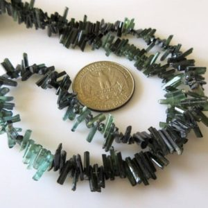 Shop Green Tourmaline Beads! 9-12mm or 5-9mm Beautiful Raw Green Tourmaline Sticks Natural Crystals 16 Inch Strand GDS712 | Natural genuine other-shape Green Tourmaline beads for beading and jewelry making.  #jewelry #beads #beadedjewelry #diyjewelry #jewelrymaking #beadstore #beading #affiliate #ad