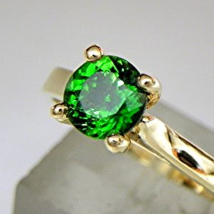Shop Green Tourmaline Rings! AAAA Natural Chrome Green Tourmaline Round Untreated   6.5mm  1.05 Carats   Solitaire 14K and 18K Yellow gold Ring. 1601 | Natural genuine Green Tourmaline rings, simple unique handcrafted gemstone rings. #rings #jewelry #shopping #gift #handmade #fashion #style #affiliate #ad