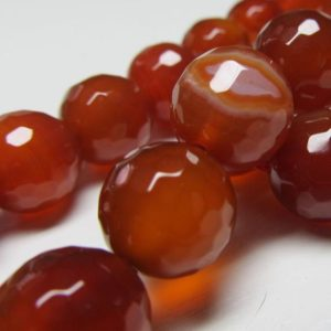 Shop Red Agate Beads! Agate Beads 12mm Rust Red Faceted Agate Round Beads –  8 Pieces | Natural genuine beads Agate beads for beading and jewelry making.  #jewelry #beads #beadedjewelry #diyjewelry #jewelrymaking #beadstore #beading #affiliate #ad