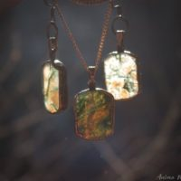 Electroformed Earrings, Moss Agate Necklace Set, Witchy Jewelry Set, Copper Earrings, Copper Jewelry, Moss Agate Jewelry, Virgo Gifts | Natural genuine Gemstone jewelry. Buy crystal jewelry, handmade handcrafted artisan jewelry for women.  Unique handmade gift ideas. #jewelry #beadedjewelry #beadedjewelry #gift #shopping #handmadejewelry #fashion #style #product #jewelry #affiliate #ad