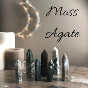 Shop Agate Points & Wands! Moss Agate Crystal Towers | Natural genuine stones & crystals in various shapes & sizes. Buy raw cut, tumbled, or polished gemstones for making jewelry or crystal healing energy vibration raising reiki stones. #crystals #gemstones #crystalhealing #crystalsandgemstones #energyhealing #affiliate #ad
