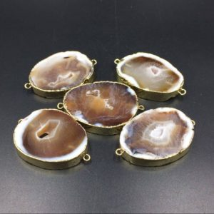 Shop Raw & Rough Agate Stones! 5pieces Agate Druzy Geode Connectors Brown Agate Slice Connector Double Bail Agate Connector Gemstone Connector Wholesale Connectors | Natural genuine stones & crystals in various shapes & sizes. Buy raw cut, tumbled, or polished gemstones for making jewelry or crystal healing energy vibration raising reiki stones. #crystals #gemstones #crystalhealing #crystalsandgemstones #energyhealing #affiliate #ad