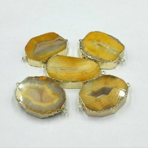 Shop Raw & Rough Agate Stones! Yellow Agate Geode Connector Gold Agate Slice Connector Double Bail Druzy Agate Gemstone Connector Wholesale Connectors 5pieces | Natural genuine stones & crystals in various shapes & sizes. Buy raw cut, tumbled, or polished gemstones for making jewelry or crystal healing energy vibration raising reiki stones. #crystals #gemstones #crystalhealing #crystalsandgemstones #energyhealing #affiliate #ad