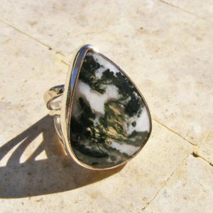 Shop Moss Agate Rings! MOSS AGATE RING, Size 7 1/4, Wonderful Earthy Colors and Energies, Sterling Silver   Natural genuine Moss Agate rings, simple unique handcrafted gemstone rings. #rings #jewelry #shopping #gift #handmade #fashion #style #affiliate #ad