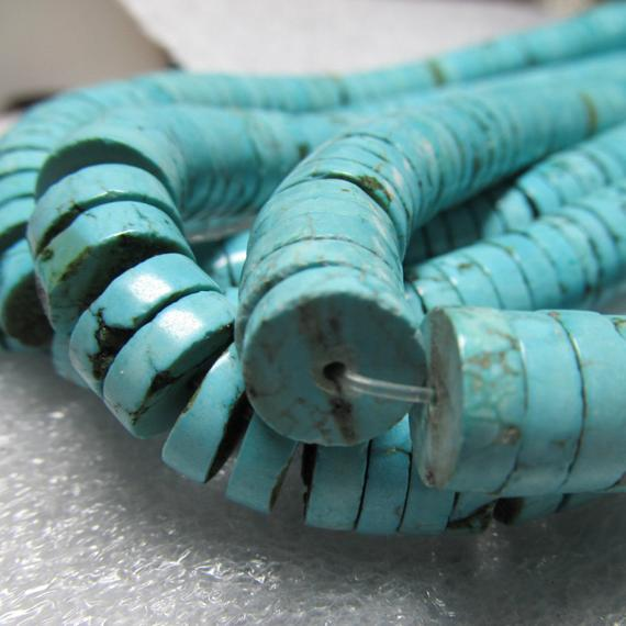 Agate Bead 12 X 4mm Heshi Dyed Aqua Blue Smooth Rondelles - 20 Pieces