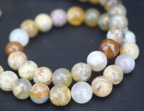 6mm/8mm Regency Rose Plume Agate Beads,smooth And Round Stone Beads,15 Inches One Starand