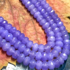 Alexandrite Tone Lilac Chalcedony Purple Faceted Rondelle Beads 8x5mm Gemstone Spacer Beads | Natural genuine beads Gemstone beads for beading and jewelry making.  #jewelry #beads #beadedjewelry #diyjewelry #jewelrymaking #beadstore #beading #affiliate #ad