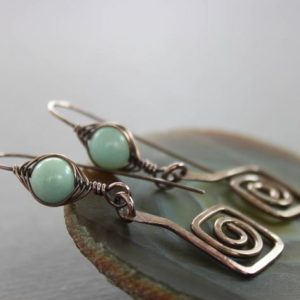 Artisan Greek Spirals Copper Earrings With Herringbone Wrapped Amazonite Stones – Threader Earrings – Statement Earrings – Er016 | Natural genuine Amazonite earrings. Buy crystal jewelry, handmade handcrafted artisan jewelry for women.  Unique handmade gift ideas. #jewelry #beadedearrings #beadedjewelry #gift #shopping #handmadejewelry #fashion #style #product #earrings #affiliate #ad